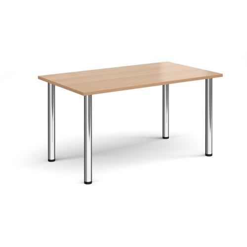 Rectangular chrome radial leg meeting table 1400mm x 800mm - beech
