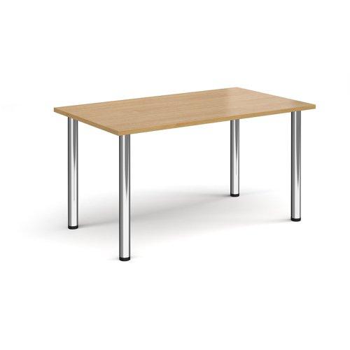 Rectangular chrome radial leg meeting table 1400mm x 800mm - oak