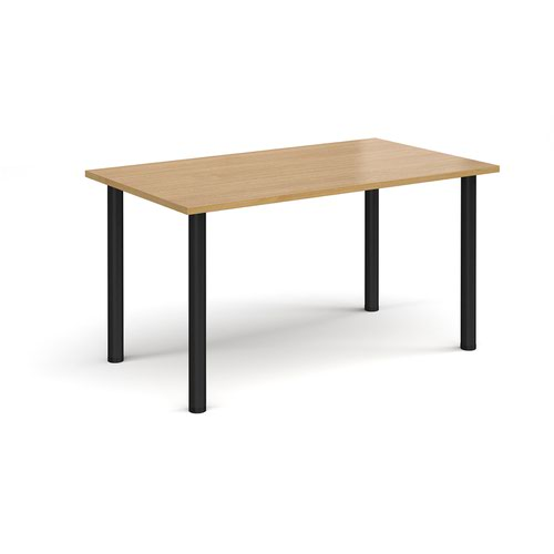 Rectangular black radial leg meeting table 1400mm x 800mm - oak
