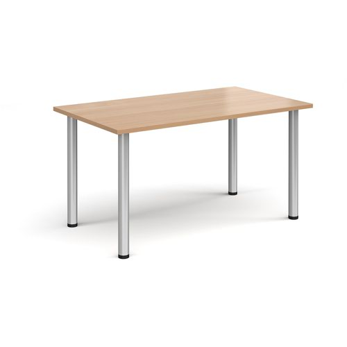 Rectangular silver radial leg meeting table 1400mm x 800mm - beech
