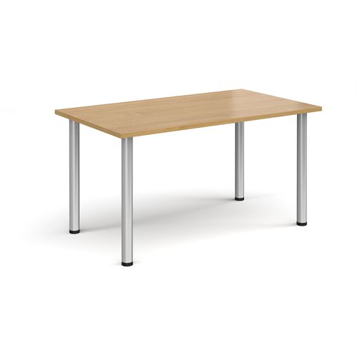 Rectangular silver radial leg meeting table 1400mm x 800mm - oak