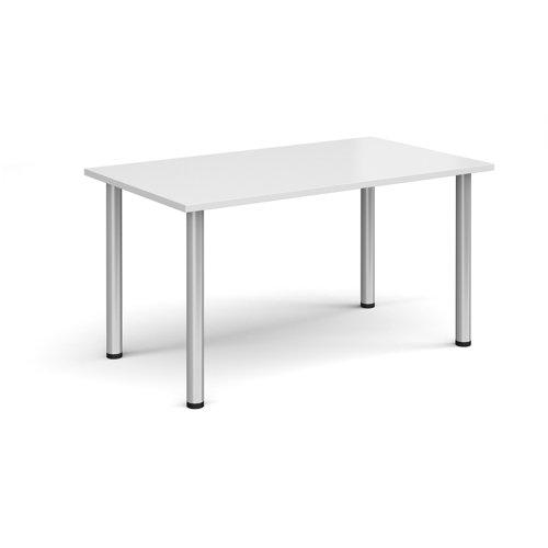 Rectangular silver radial leg meeting table 1400mm x 800mm - white