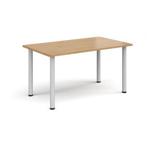 Rectangular white radial leg meeting table 1400mm x 800mm - oak