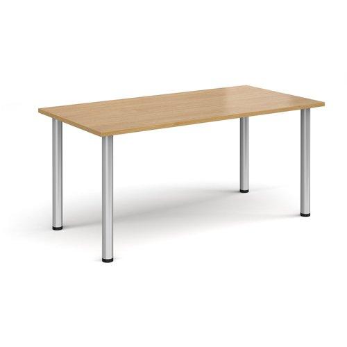 Rectangular silver radial leg meeting table 1600mm x 800mm - oak