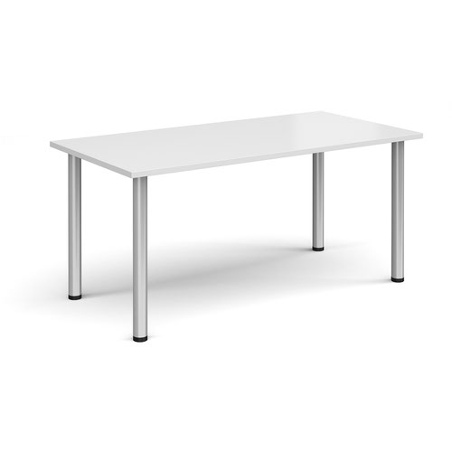 Rectangular silver radial leg meeting table 1600mm x 800mm - white