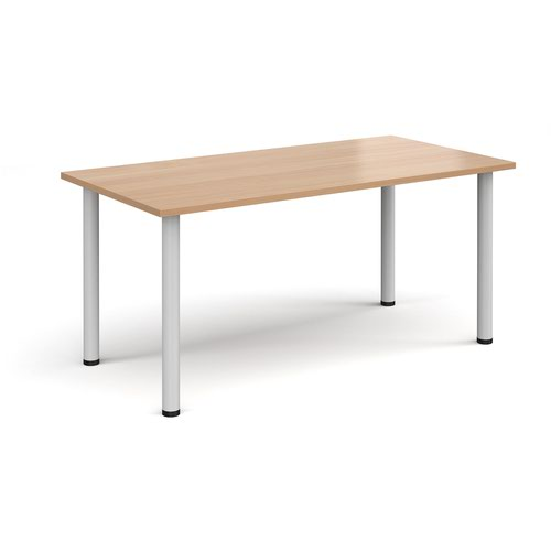 Rectangular white radial leg meeting table 1600mm x 800mm - beech