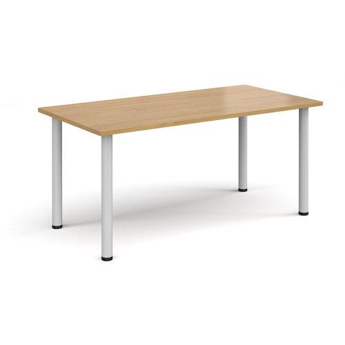Rectangular white radial leg meeting table 1600mm x 800mm - oak