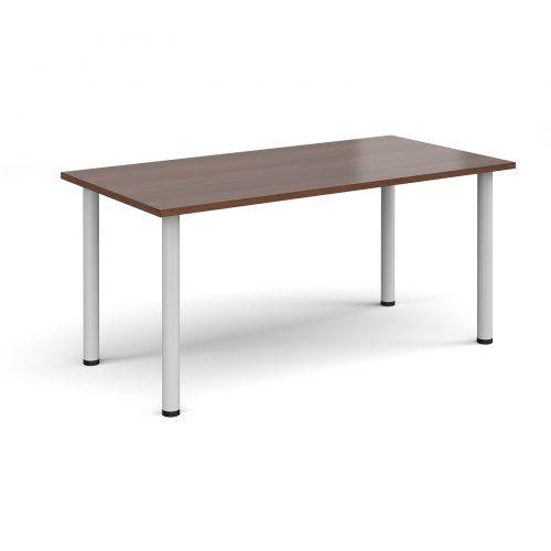 Rectangular white radial leg meeting table 1600mm x 800mm - walnut