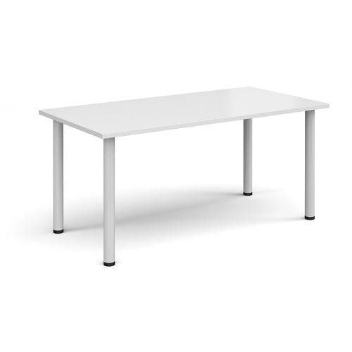 Rectangular white radial leg meeting table 1600mm x 800mm - white