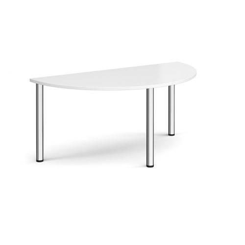 Semi circular chrome radial leg meeting table 1600mm x 800mm - white