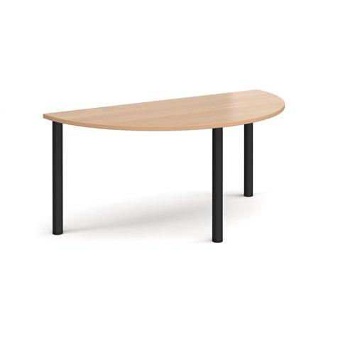 Semi circular black radial leg meeting table 1600mm x 800mm - beech