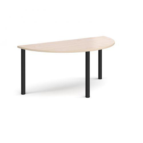 Semi circular black radial leg meeting table 1600mm x 800mm - maple