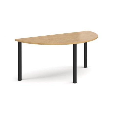 Semi circular black radial leg meeting table 1600mm x 800mm - oak