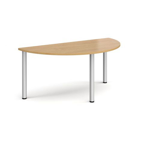 Semi circular silver radial leg meeting table 1600mm x 800mm - oak