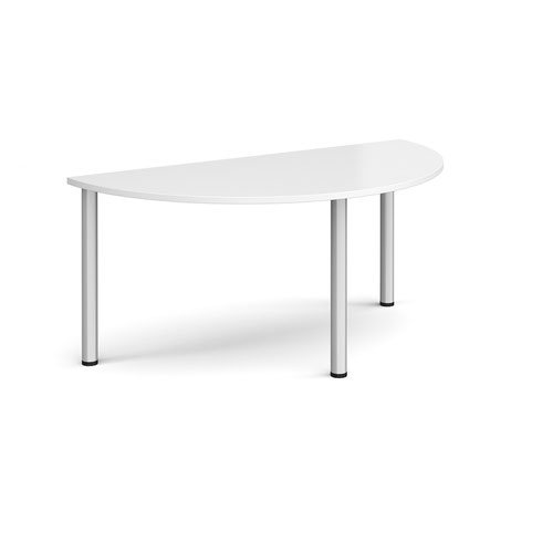 Semi circular silver radial leg meeting table 1600mm x 800mm - white