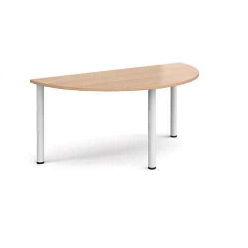 Semi circular white radial leg meeting table 1600mm x 800mm - beech