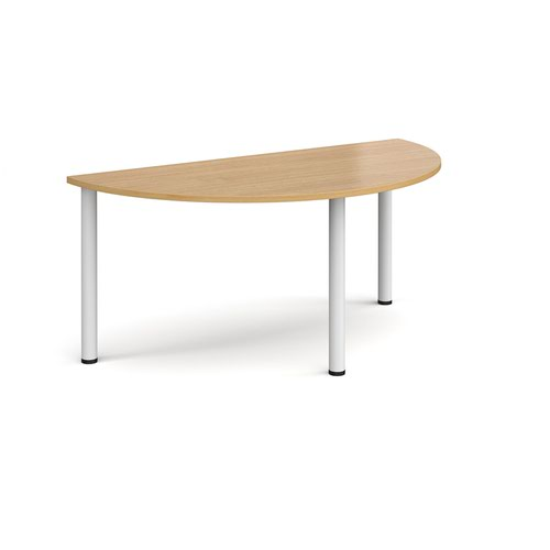 Semi circular white radial leg meeting table 1600mm x 800mm - oak