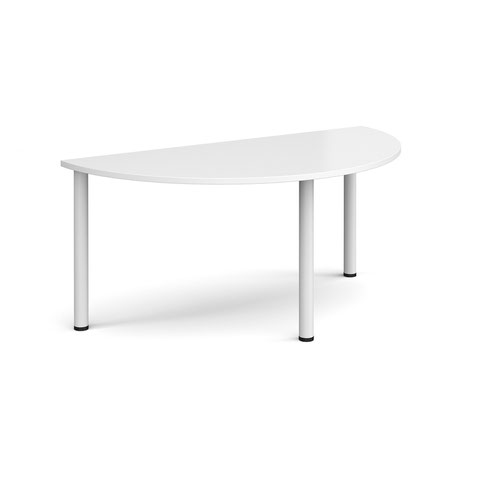 Semi circular white radial leg meeting table 1600mm x 800mm - white