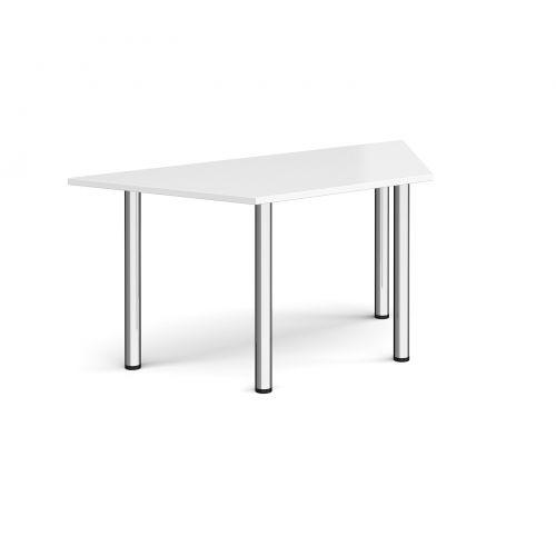 Trapezoidal chrome radial leg meeting table 1600mm x 800mm - white