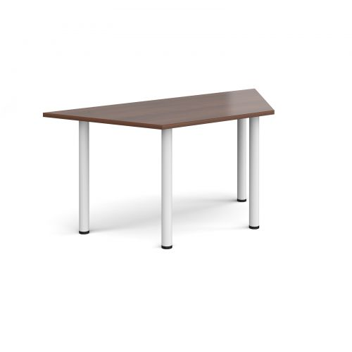 Trapezoidal white radial leg meeting table 1600mm x 800mm - walnut
