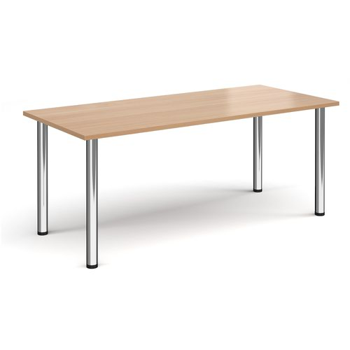 Rectangular chrome radial leg meeting table 1800mm x 800mm - beech