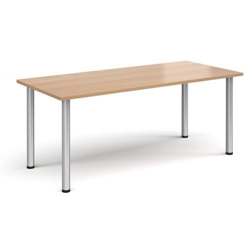 Rectangular silver radial leg meeting table 1800mm x 800mm - beech