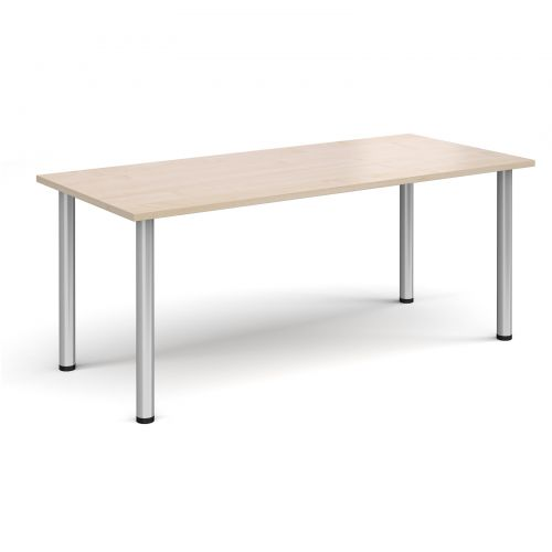 Rectangular silver radial leg meeting table 1800mm x 800mm - maple