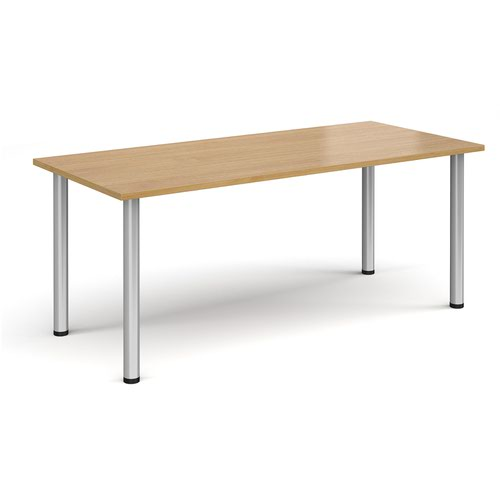 Rectangular silver radial leg meeting table 1800mm x 800mm - oak