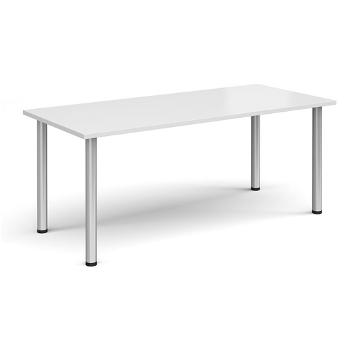 Rectangular silver radial leg meeting table 1800mm x 800mm - white