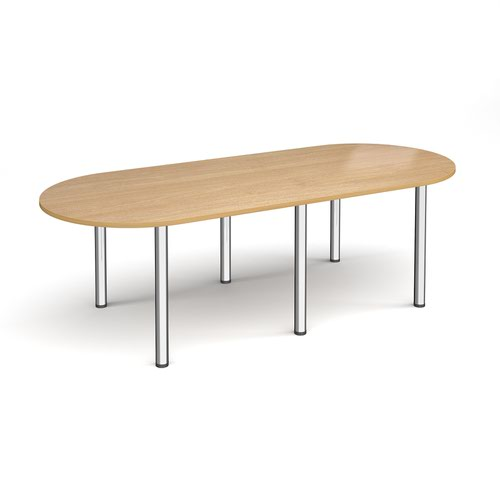 Radial end meeting table 2400mm x 1000mm with 6 chrome radial legs - oak