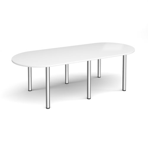 Radial end meeting table 2400mm x 1000mm with 6 chrome radial legs - white