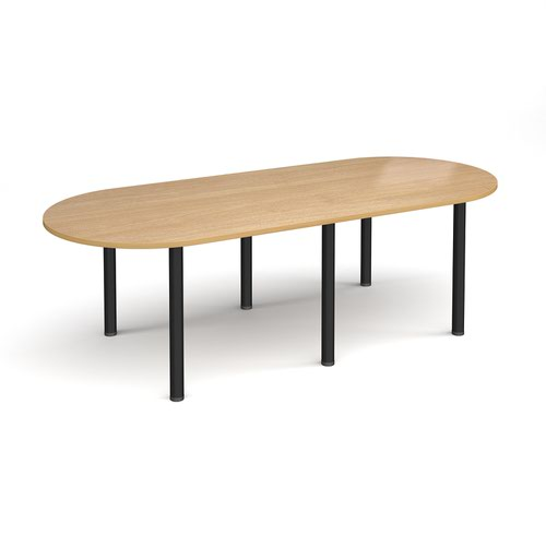 Radial end meeting table 2400mm x 1000mm with 6 black radial legs - oak