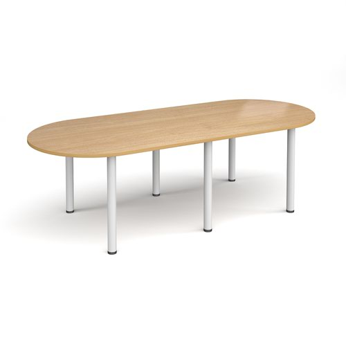 Radial end meeting table 2400mm x 1000mm with 6 white radial legs - oak