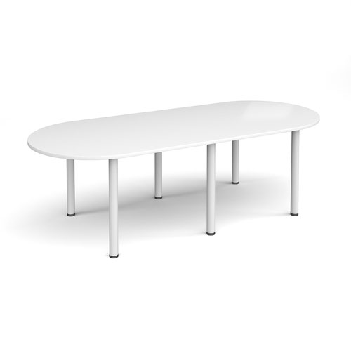 Radial end meeting table 2400mm x 1000mm with 6 white radial legs - white