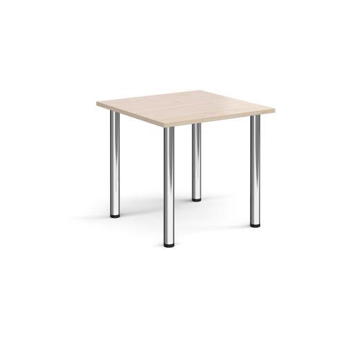 Rectangular chrome radial leg meeting table 800mm x 800mm - maple