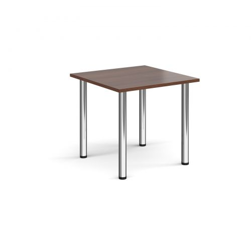 Rectangular chrome radial leg meeting table 800mm x 800mm - walnut