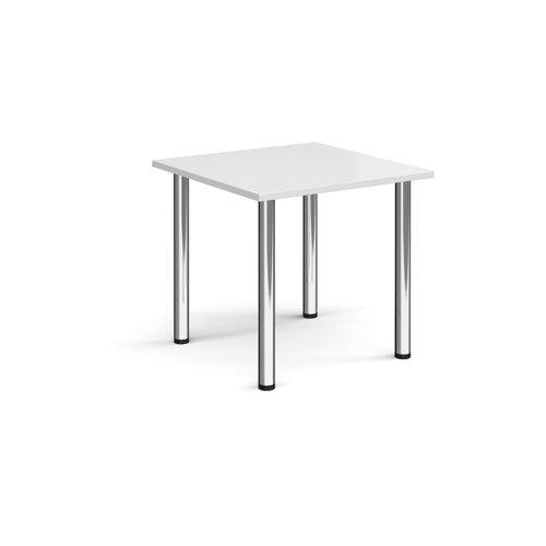 Rectangular chrome radial leg meeting table 800mm x 800mm - white