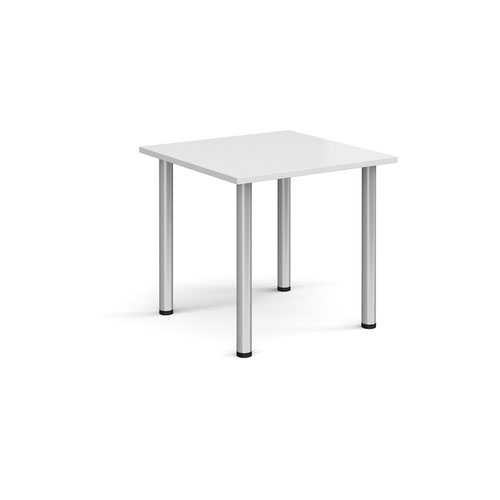 Rectangular silver radial leg meeting table 800mm x 800mm - white
