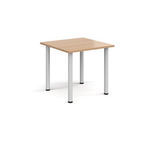 Rectangular white radial leg meeting table 800mm x 800mm - beech