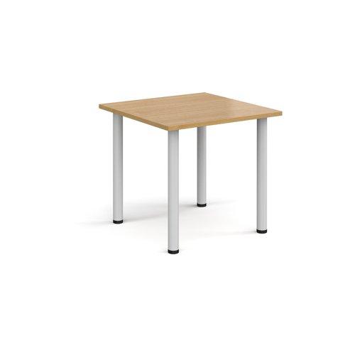 Rectangular white radial leg meeting table 800mm x 800mm - oak