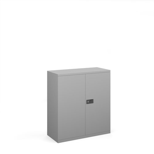 Steel contract cupboard with 1 shelf 1000mm high - silver