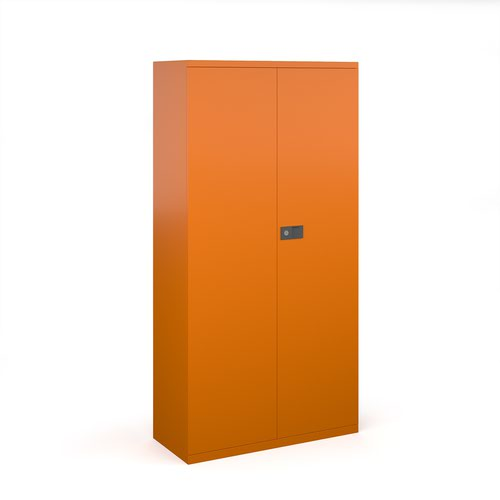 Steel contract cupboard with 3 shelves 1806mm high - orange