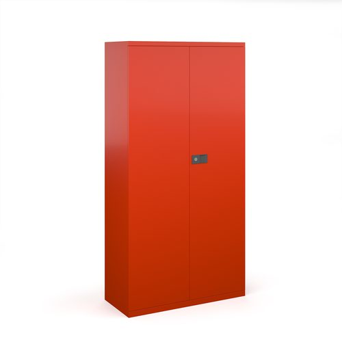 Steel contract cupboard with 3 shelves 1806mm high - red