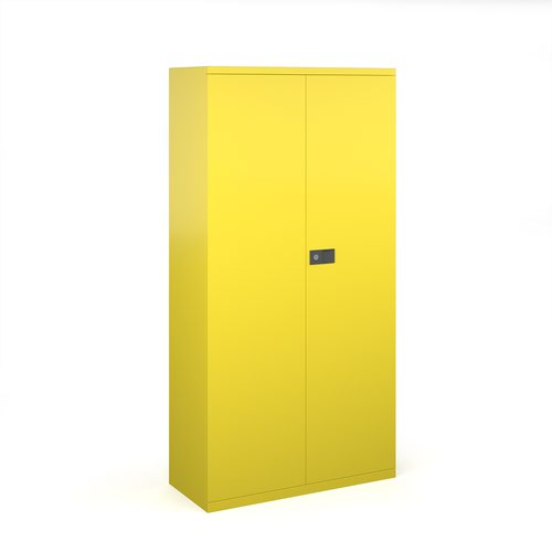 Steel contract cupboard with 3 shelves 1806mm high - yellow