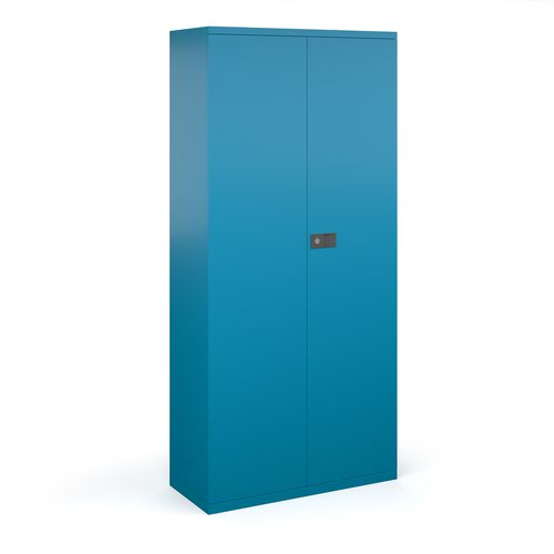 Steel contract cupboard with 4 shelves 1968mm high - blue