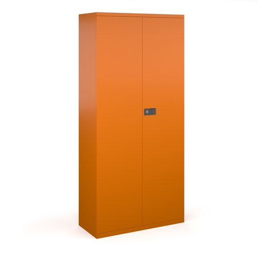 Steel contract cupboard with 4 shelves 1968mm high - orange