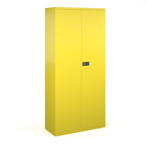 Steel contract cupboard with 4 shelves 1968mm high - yellow