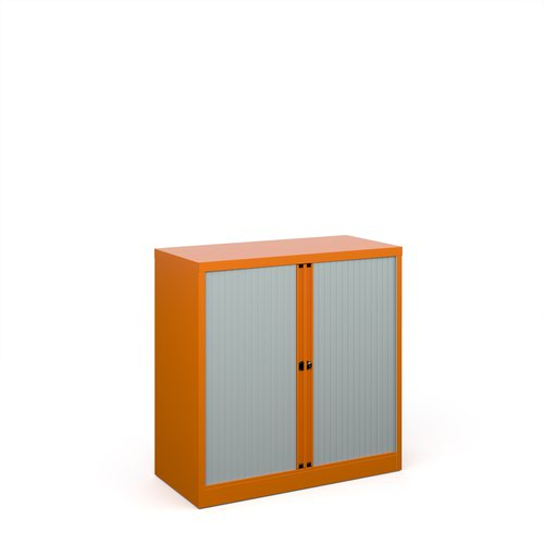 Bisley systems storage low tambour cupboard 1000mm high - orange