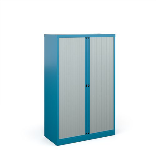 Bisley systems storage medium tambour cupboard 1570mm high - blue