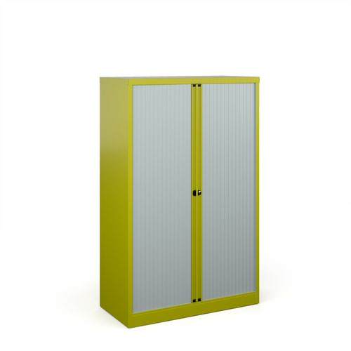 Bisley systems storage medium tambour cupboard 1570mm high - green